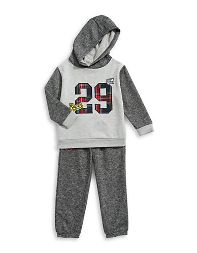Nannette Two-Piece Graphic Hoodie and Jogger Pants Set-GREY-24 Months
