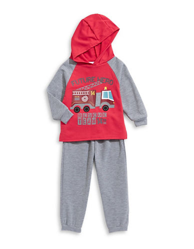 Nannette Two-Piece Fire Truck Hoodie and Jogger Set-RED-12 Months