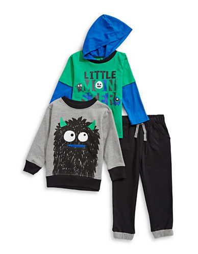 Nannette Three-Piece Monster Hoodie, Sweater and Jogger Pants Set-GREEN-12 Months