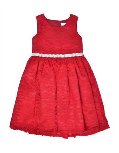Nannette Two-Piece Faux Fur Shawl and Lace Dress Set-RED-2T
