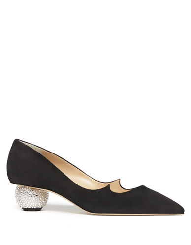 Paul Andrew Ankara Suede Pumps-BLACK-EUR 37/US 7