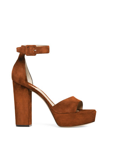Paul Andrew Corsico Suede Platform Sandals-SADDLE-EUR 37/US 7
