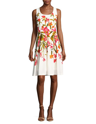 Karl Lagerfeld Paris Floral Panel Dress-ORANGE MULTI-10