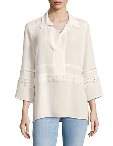 Karl Lagerfeld Paris Long Sleeve Embroidered Tunic Blouse-WHITE-Medium