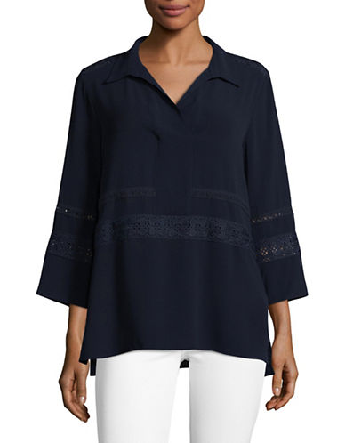 Karl Lagerfeld Paris Long Sleeve Embroidered Tunic Blouse-BLUE-Medium