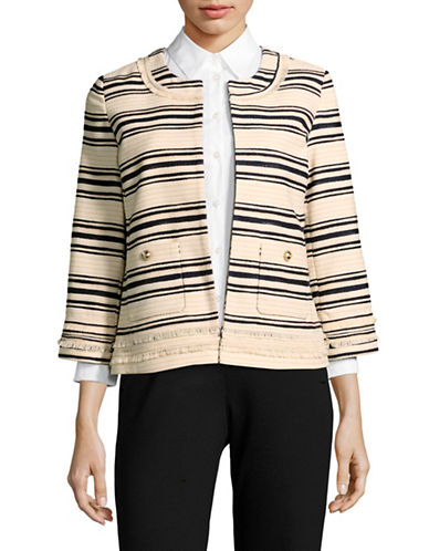 Karl Lagerfeld Paris Striped Tweed-Look Jacket-BLUE MULTI-4