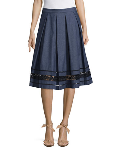Karl Lagerfeld Paris Embroidered Border Denim Midi Skirt-BLUE-14