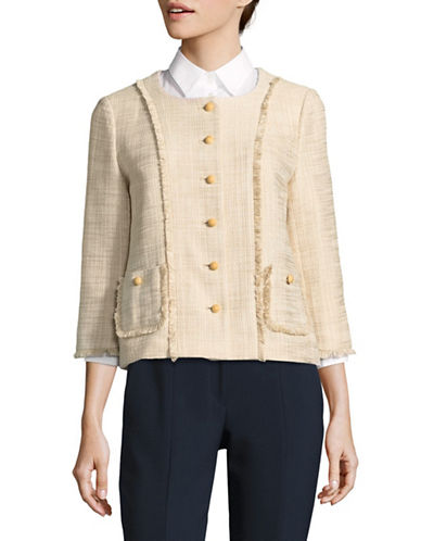 Karl Lagerfeld Paris Fringe-Trim Tweed Blazer-BEIGE-12
