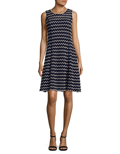 Karl Lagerfeld Paris Crochet Knit A-Line Dress-BLUE MULTI-14