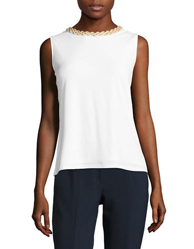 Karl Lagerfeld Paris Beaded Neck Knit Sleeveless Blouse-WHITE-X-Small 89314426_WHITE_X-Small