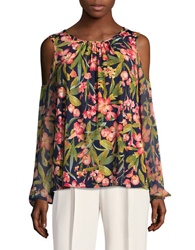 Karl Lagerfeld Paris Long Sleeve Floral Cold-Shoulder Top-BLUE MULTI-Large