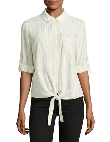 Ivanka Trump Stripe Knot Cotton Shirt-WHITE-Large
