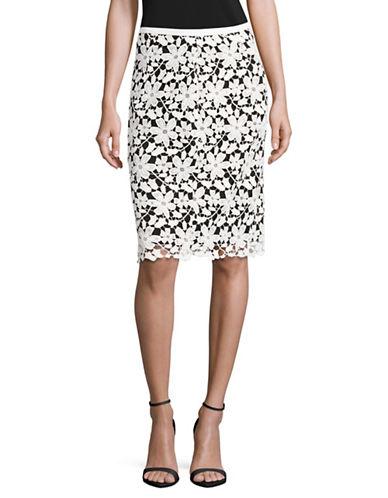 Karl Lagerfeld Paris Floral Lace Pencil Skirt-BLACK-8