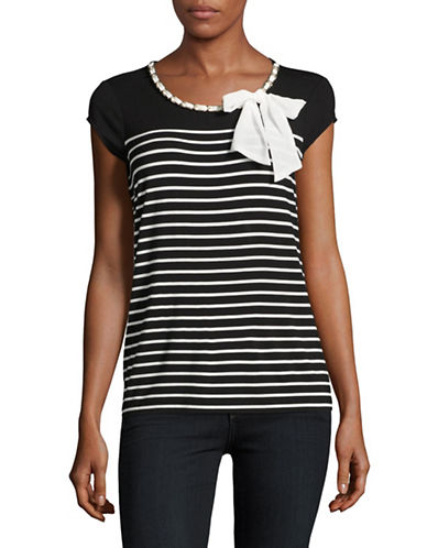 Karl Lagerfeld Paris Breton Stripe Necklace Bow Top-GREY-X-Large 89258998_GREY_X-Large