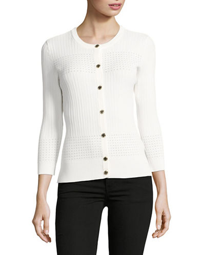 Karl Lagerfeld Paris Pointelle Cardigan-WHITE-Medium