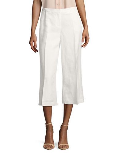Karl Lagerfeld Paris Wide Leg Crop Linen-Blend Pants-WHITE-6