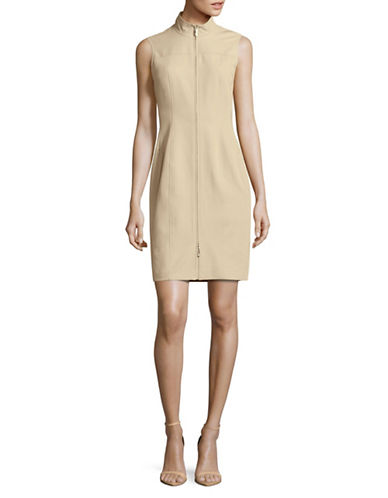 Tommy Hilfiger Mock Neck Two-Way Zip Sheath Dress-KHAKI-14