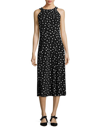 Tommy Hilfiger Dotted Halter Midi Dress-BLACK/IVORY-12
