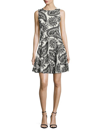 Tommy Hilfiger Embroidered Fit-And-Flare Dress-IVORY/BLACK-6
