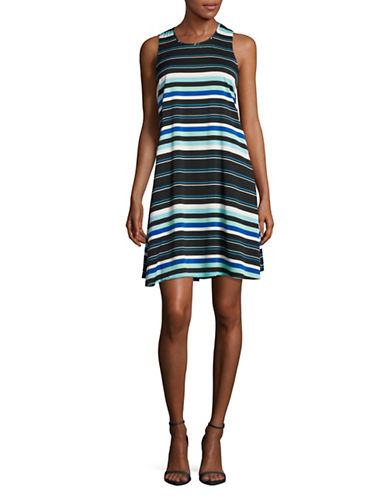 Tommy Hilfiger Sleeveless Stripe A-Line Dress-MULTI-14