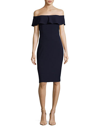 Karl Lagerfeld Paris Off-The-Shoulder Ruffle Stripe Dress-NAVY-8