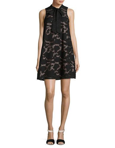Ivanka Trump Sleeveless Floral Burnout Tie Neck Shift Dress-BLACK-12
