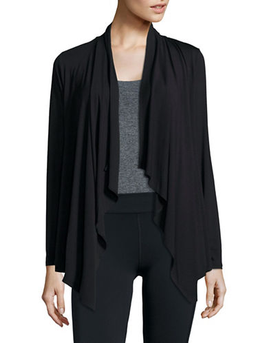 Ivanka Trump Pleat-Insert Flyaway Cardigan-BLACK-X-Large