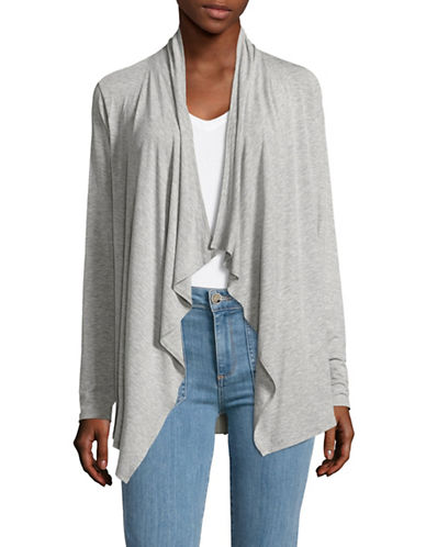 Ivanka Trump Pleat-Insert Flyaway Cardigan-HEATHER GREY-Small