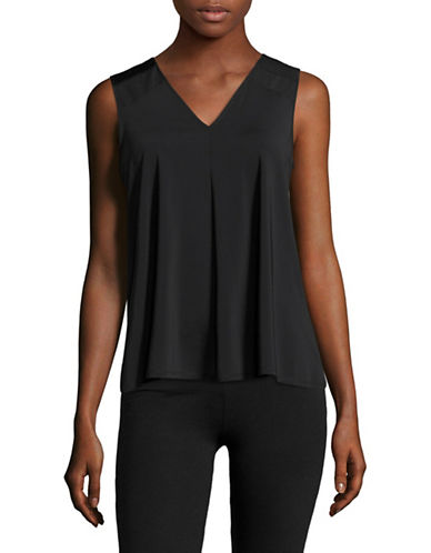Ivanka Trump Inset Mesh Tank Top-BLACK-Small