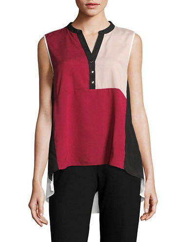 Ivanka Trump Colourblock Hi-Lo Sleeveless Blouse-PINK/BLACK-X-Large