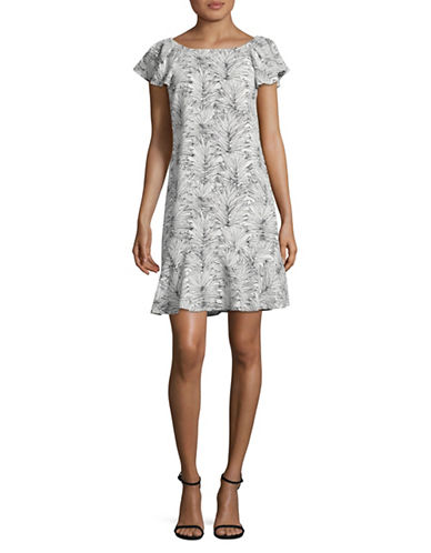 Karl Lagerfeld Paris Palm Print Flounce Dress-BLACK/WHITE-14