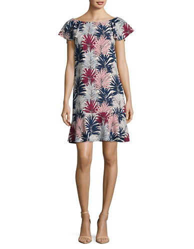 Karl Lagerfeld Paris Palm Print Flounce Dress-ROSE-12