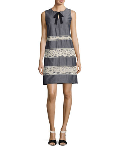 Karl Lagerfeld Paris Chambray Lace Shift Dress-BLUE-12
