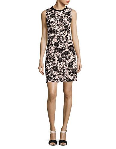 Karl Lagerfeld Paris Flocked Lace Necklace Sheath Dress-ROSE/BLACK-6
