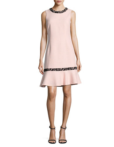 Karl Lagerfeld Paris Sleeveless Lace-Trim Drop-Waist Dress-ROSE-8