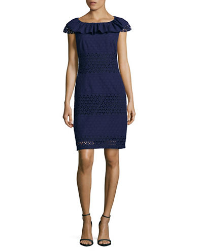 Karl Lagerfeld Paris Off-Shoulder Eyelet Ruffle Dress-NAVY-6