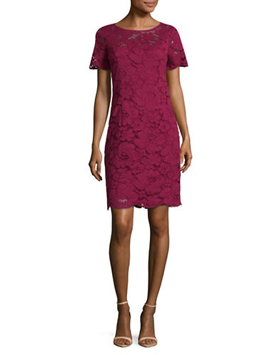 Karl Lagerfeld Paris Lace Sheath Dress-WINE-4