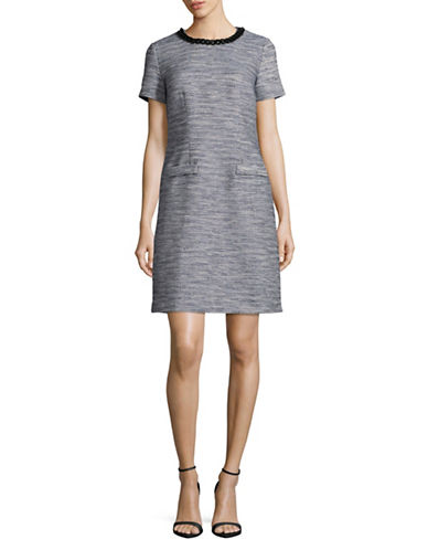 Karl Lagerfeld Paris Chain Tweed Sheath Dress-BLUE-4