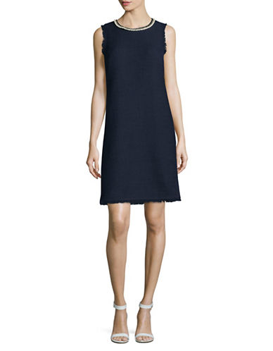 Karl Lagerfeld Paris Faux-Pearl Necklace Sheath Dress-NAVY-6