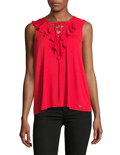 Ivanka Trump Ruffled Lace-Up Tank-PINK-Medium