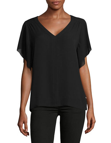Ivanka Trump V-Neck Georgette Blouse-BLACK-X-Small