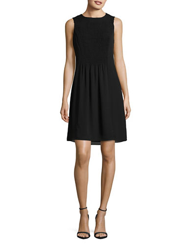 Ivanka Trump Solid Smocked Dress-BLACK-10