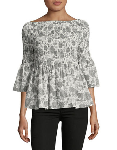 Ivanka Trump Off-The-Shoulder Paisley Top-WHITE MULTI-X-Small