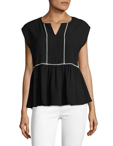 Ivanka Trump Embroidered Peplum Top-WHITE/BLACK-Medium