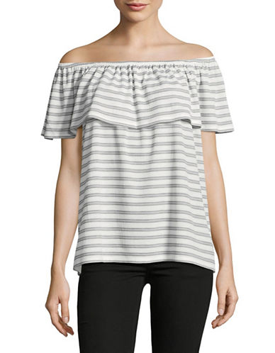 Ivanka Trump Ruffle Off-Shoulder Stripe Blouse-WHITE/BLACK-X-Small