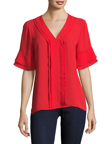 Ivanka Trump Tiered V-Neck Bell Sleeve Top-RED-Small