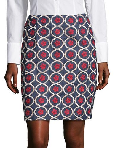 Ivanka Trump Embroidered Denim Skirt-BLUE-10