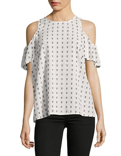 Ivanka Trump Dobby Dot Poplin Cold-Shoulder Top-WHITE-X-Small