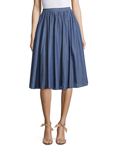 Ivanka Trump A-Line Denim Skirt-BLUE-12