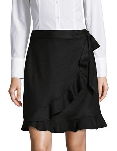Ivanka Trump Ruffle Hem Side-Tie Wrap Skirt-BLACK-8